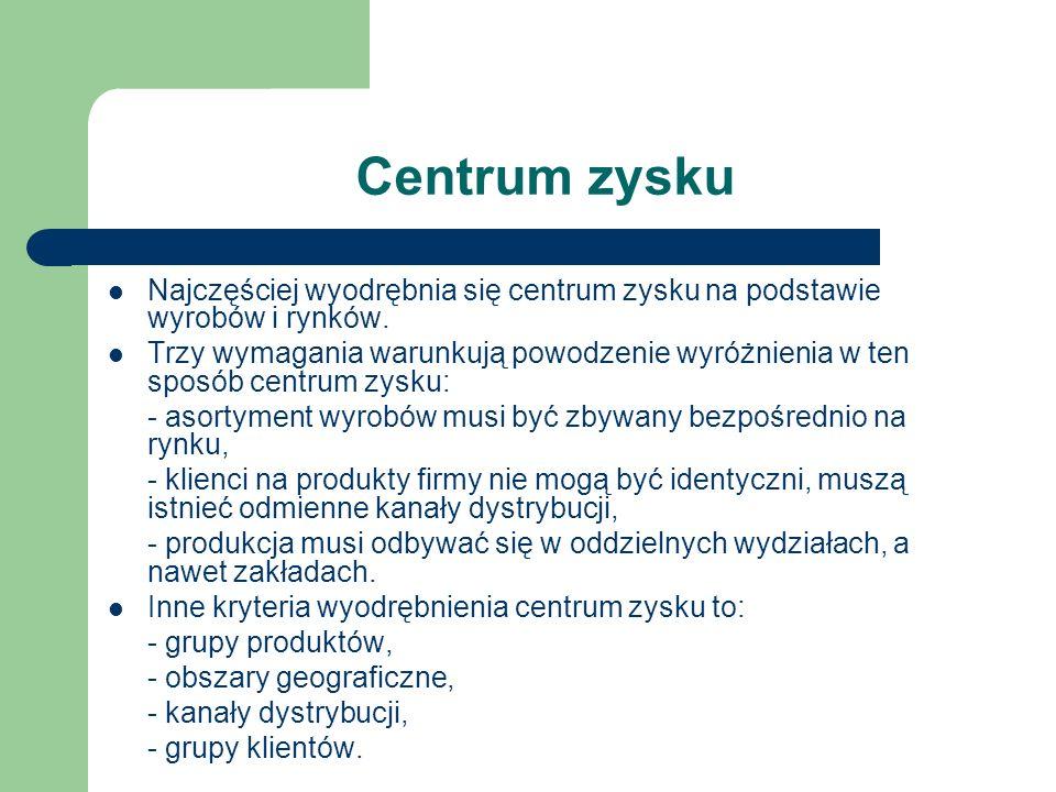 Centrum zysku Najczęściej wyodrębnia się centrum zysku na podstawie wyrobów i rynków.
