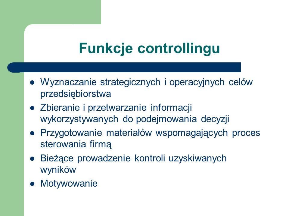 Funkcje controllingu Wyznaczanie strategicznych i operacyjnych celów przedsiębiorstwa.