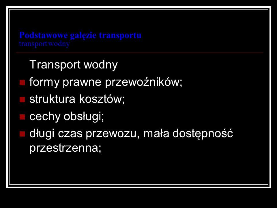 Podstawowe gałęzie transportu transport wodny