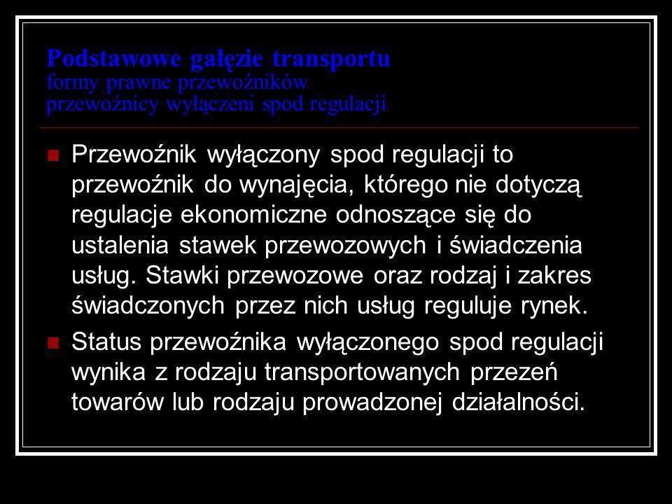 Podstawowe gałęzie transportu formy prawne przewoźników przewoźnicy wyłączeni spod regulacji