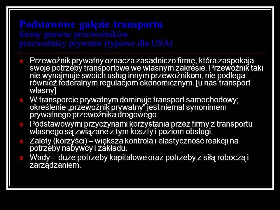 Podstawowe gałęzie transportu formy prawne przewoźników przewoźnicy prywatni (typowe dla USA)