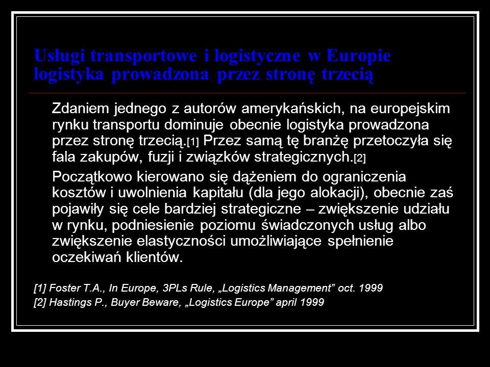 Usługi transportowe i logistyczne w Europie logistyka prowadzona przez stronę trzecią
