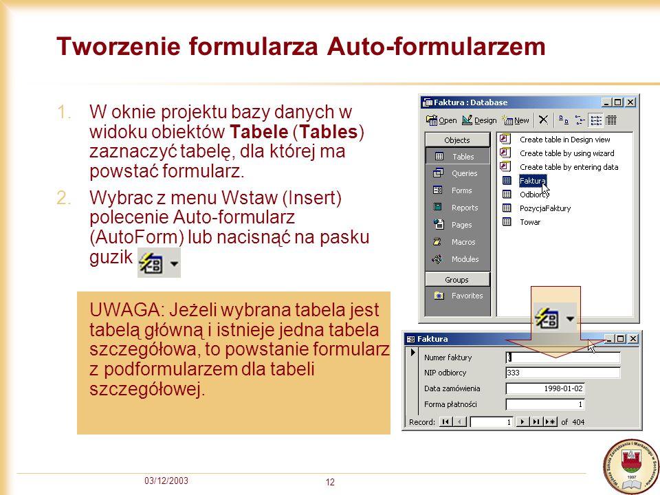 Tworzenie formularza Auto-formularzem