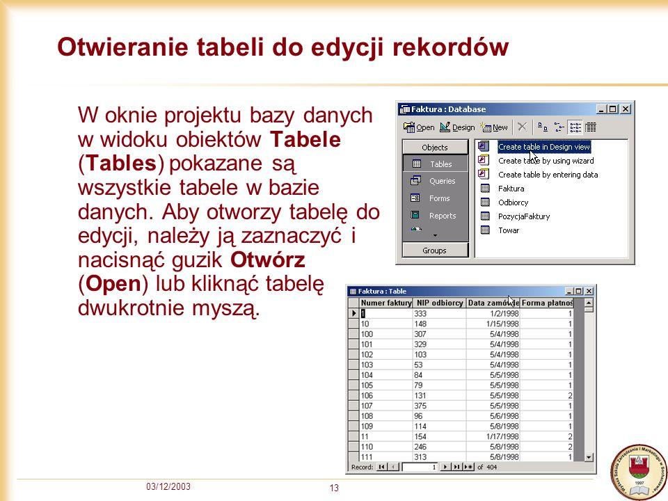 Otwieranie tabeli do edycji rekordów