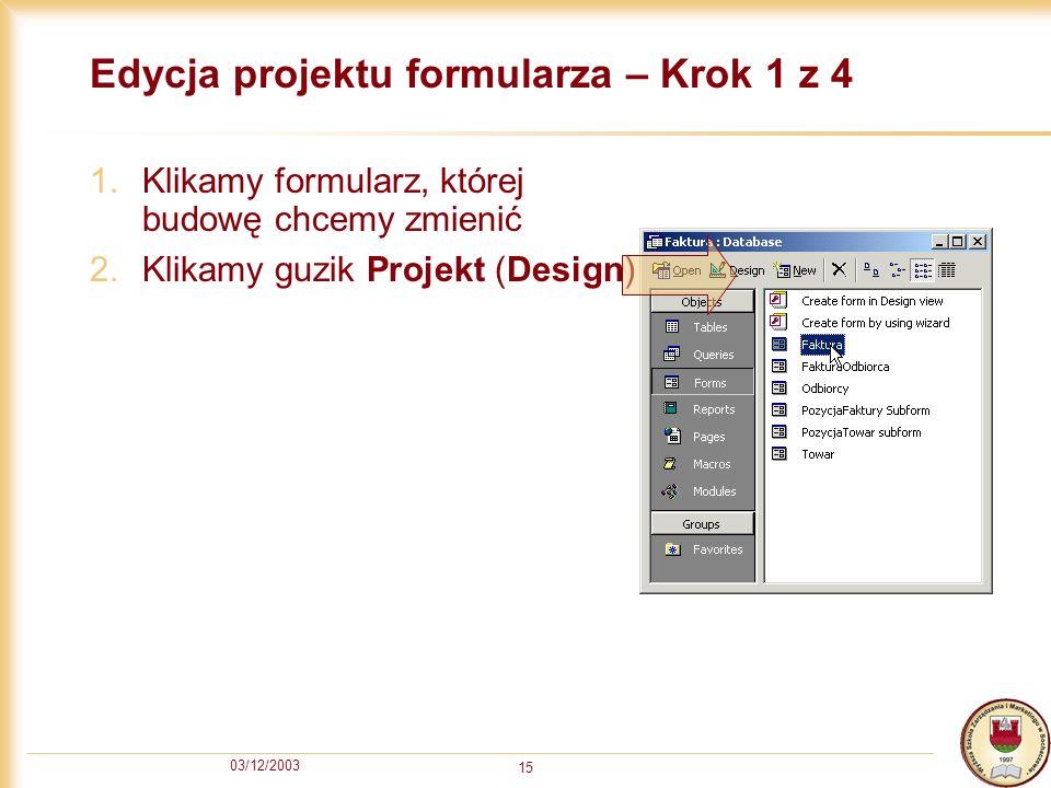 Edycja projektu formularza – Krok 1 z 4