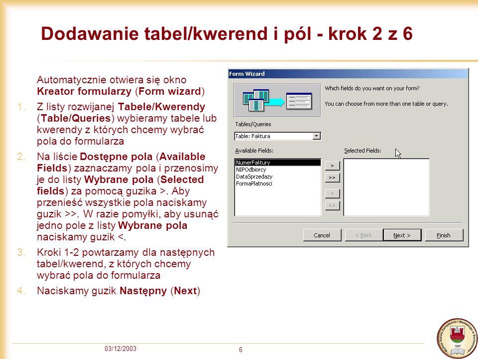 Dodawanie tabel/kwerend i pól - krok 2 z 6