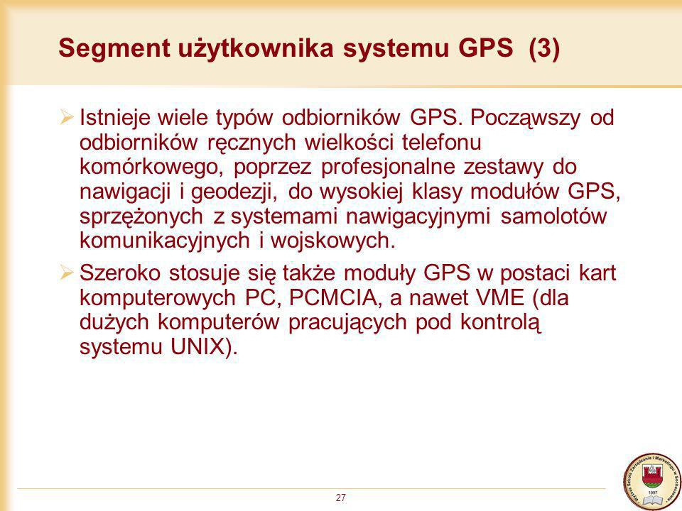 Segment użytkownika systemu GPS (3)