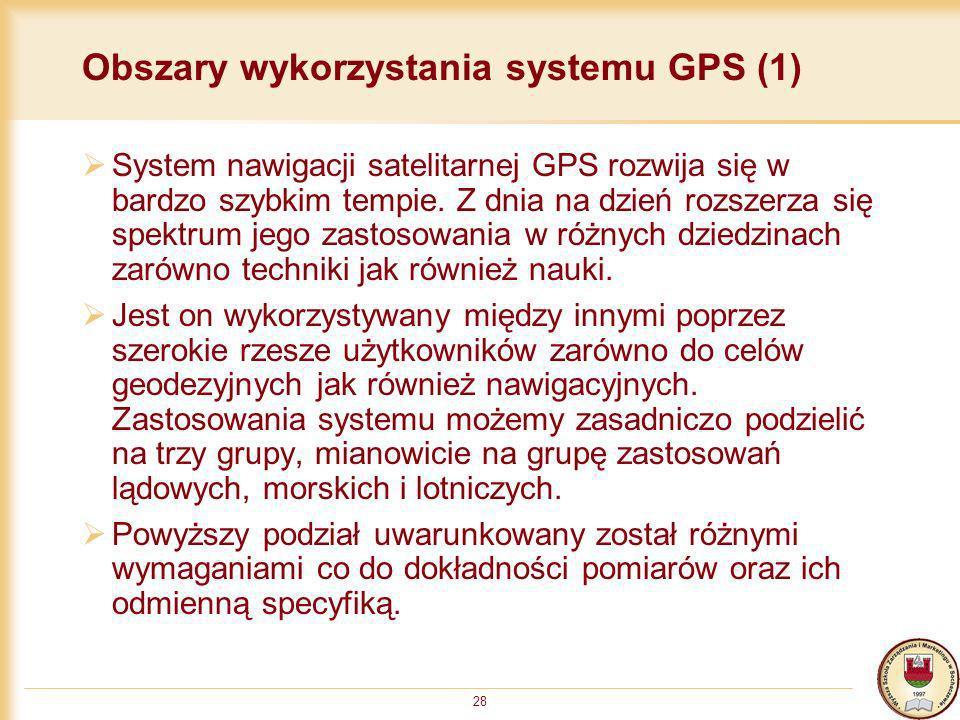 Obszary wykorzystania systemu GPS (1)