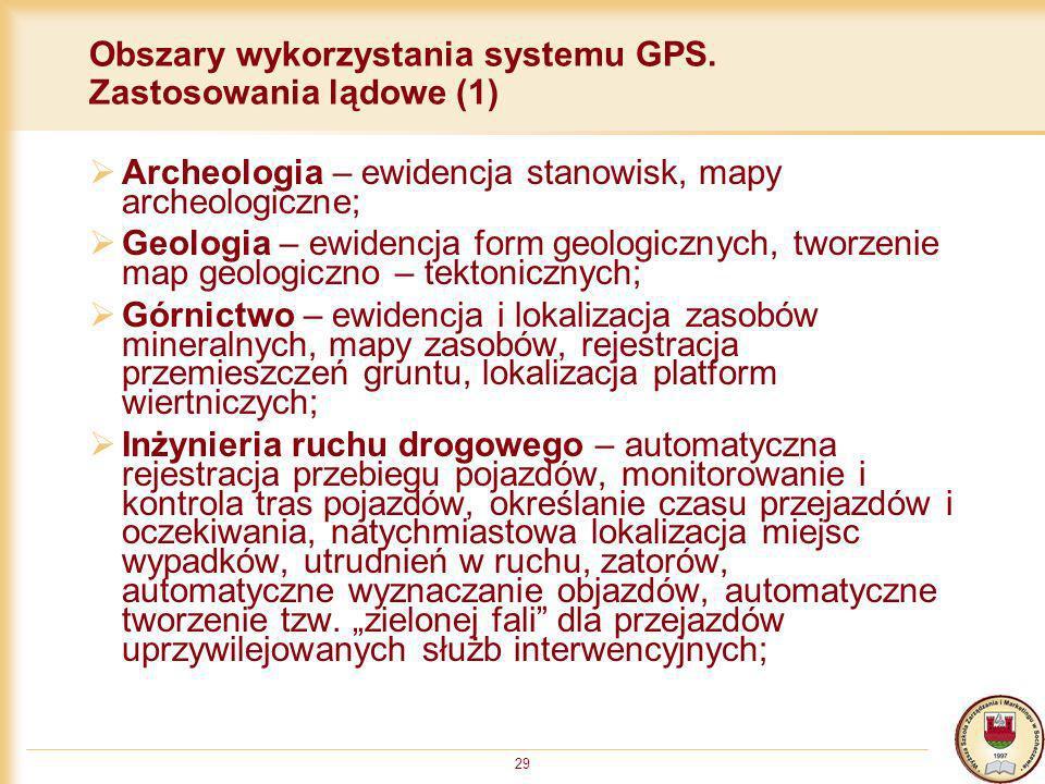 Obszary wykorzystania systemu GPS. Zastosowania lądowe (1)