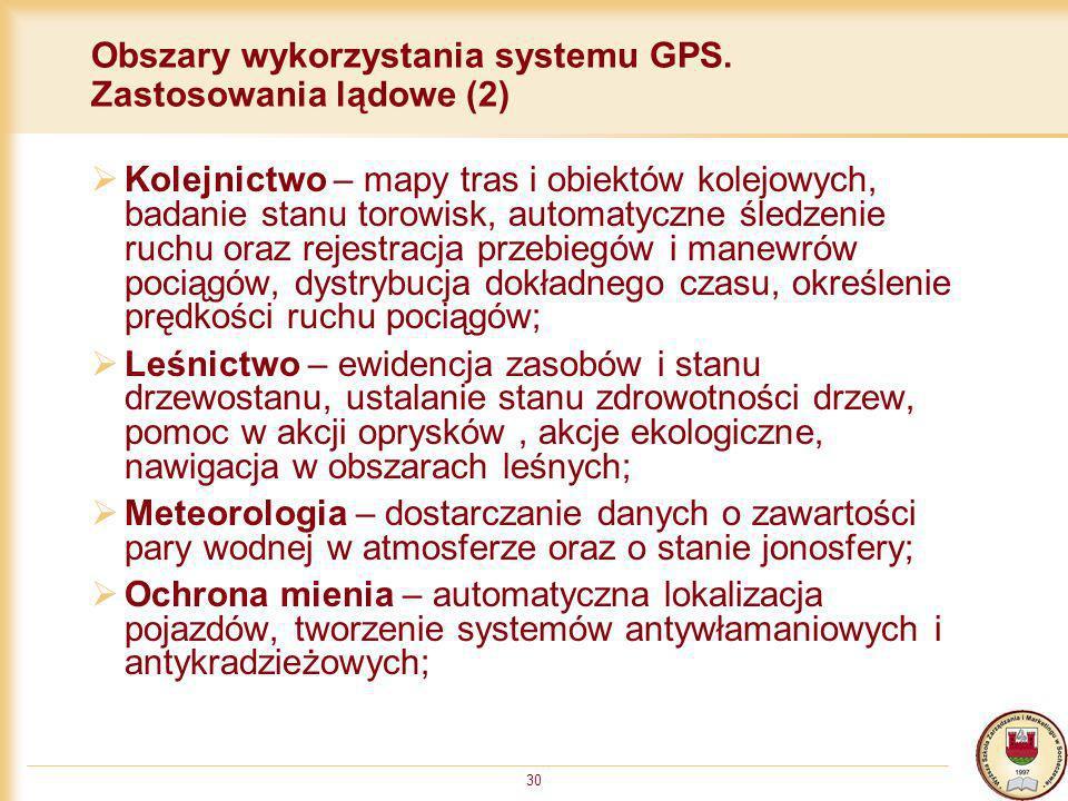 Obszary wykorzystania systemu GPS. Zastosowania lądowe (2)