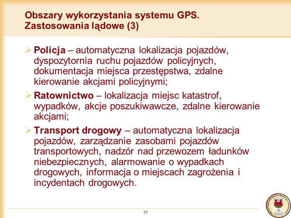 Obszary wykorzystania systemu GPS. Zastosowania lądowe (3)