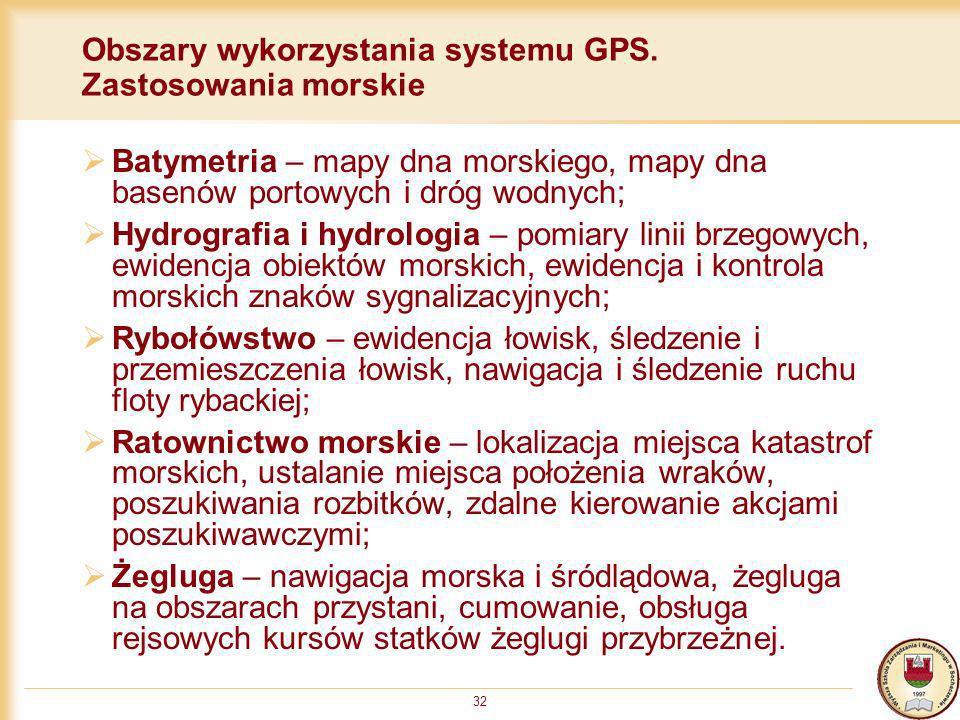 Obszary wykorzystania systemu GPS. Zastosowania morskie