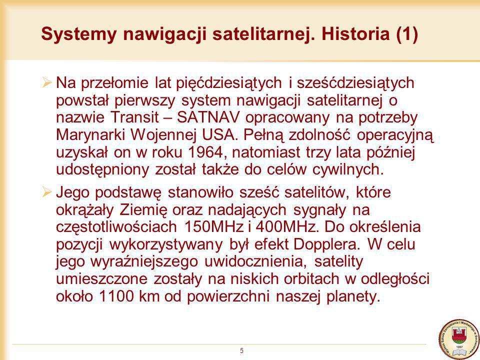 Systemy nawigacji satelitarnej. Historia (1)