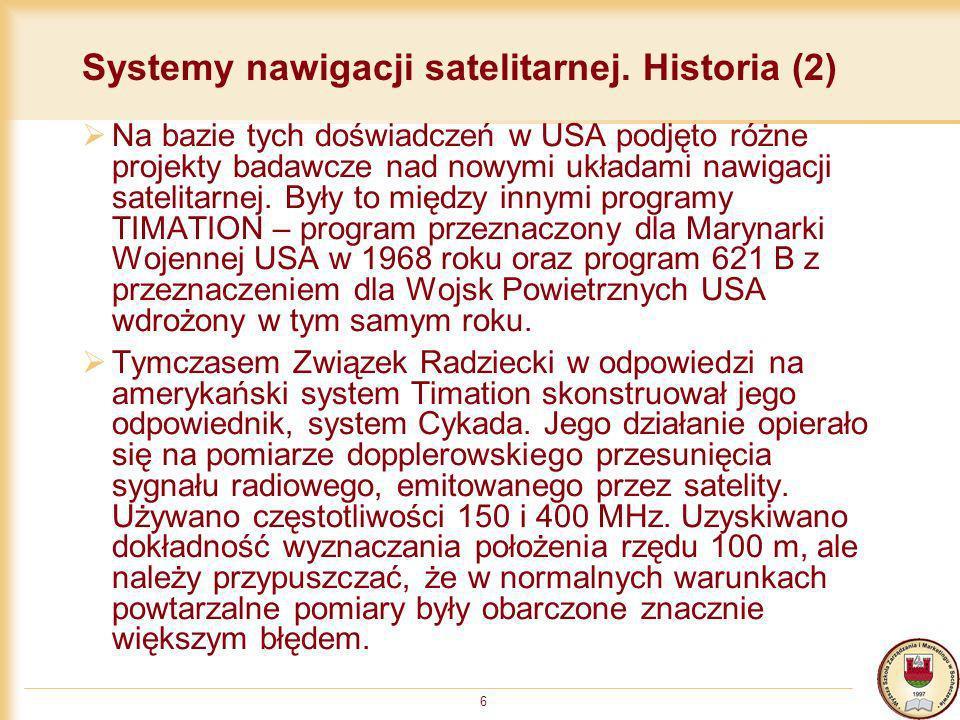 Systemy nawigacji satelitarnej. Historia (2)
