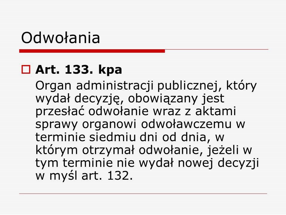Odwołania Art. 133. kpa.