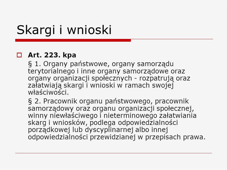 Skargi i wnioski Art. 223. kpa