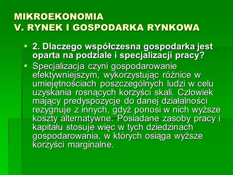 MIKROEKONOMIA V. RYNEK I GOSPODARKA RYNKOWA