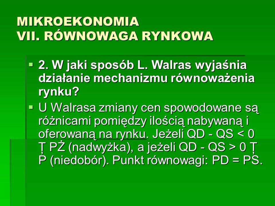 MIKROEKONOMIA VII. RÓWNOWAGA RYNKOWA