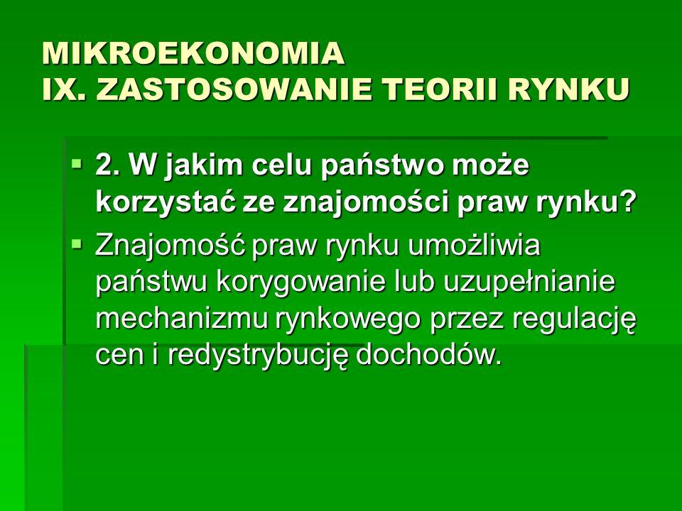 MIKROEKONOMIA IX. ZASTOSOWANIE TEORII RYNKU