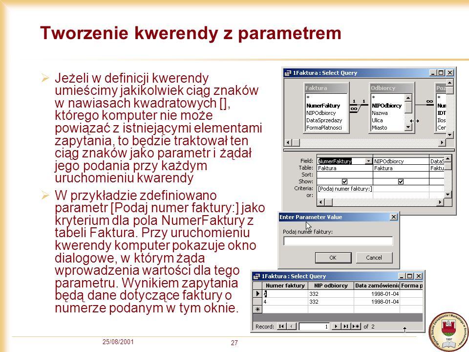 Tworzenie kwerendy z parametrem