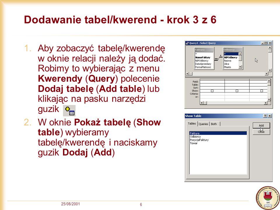Dodawanie tabel/kwerend - krok 3 z 6