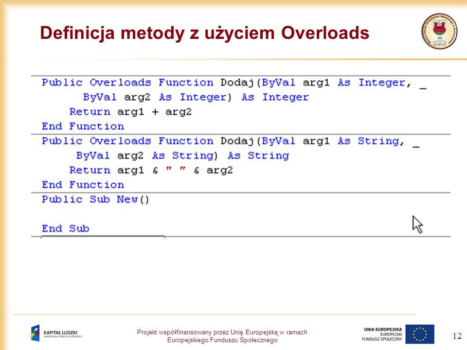 Definicja metody z użyciem Overloads
