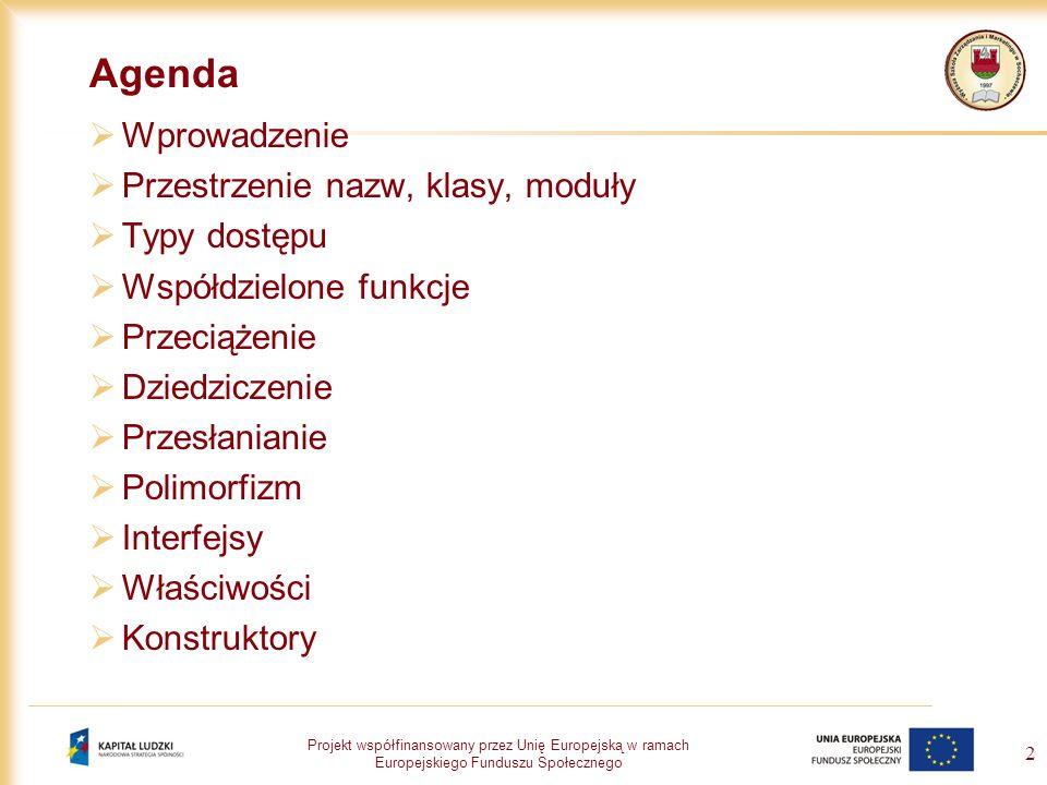 Agenda Wprowadzenie Przestrzenie nazw, klasy, moduły Typy dostępu
