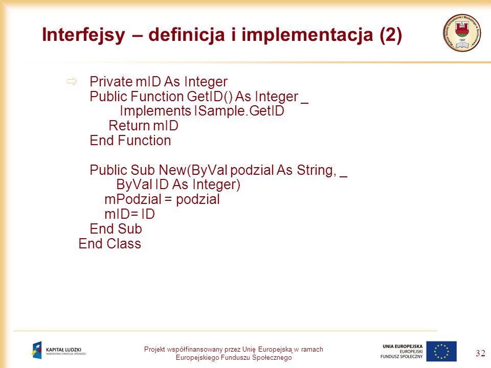 Interfejsy – definicja i implementacja (2)