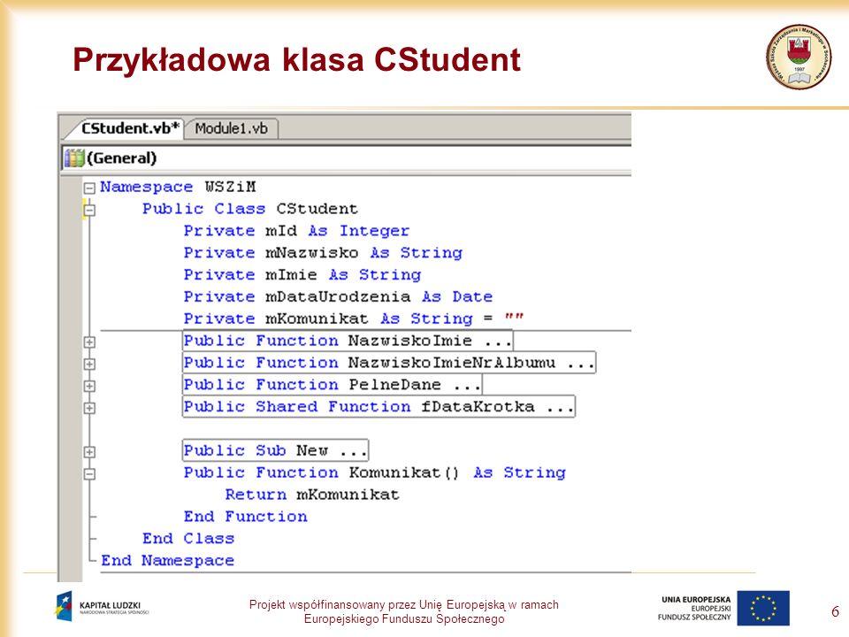 Przykładowa klasa CStudent