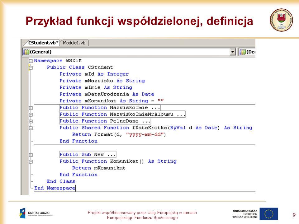 Przykład funkcji współdzielonej, definicja