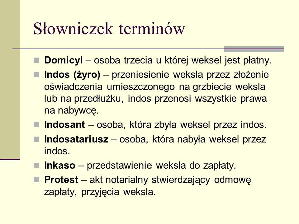 Słowniczek terminów Domicyl – osoba trzecia u której weksel jest płatny.