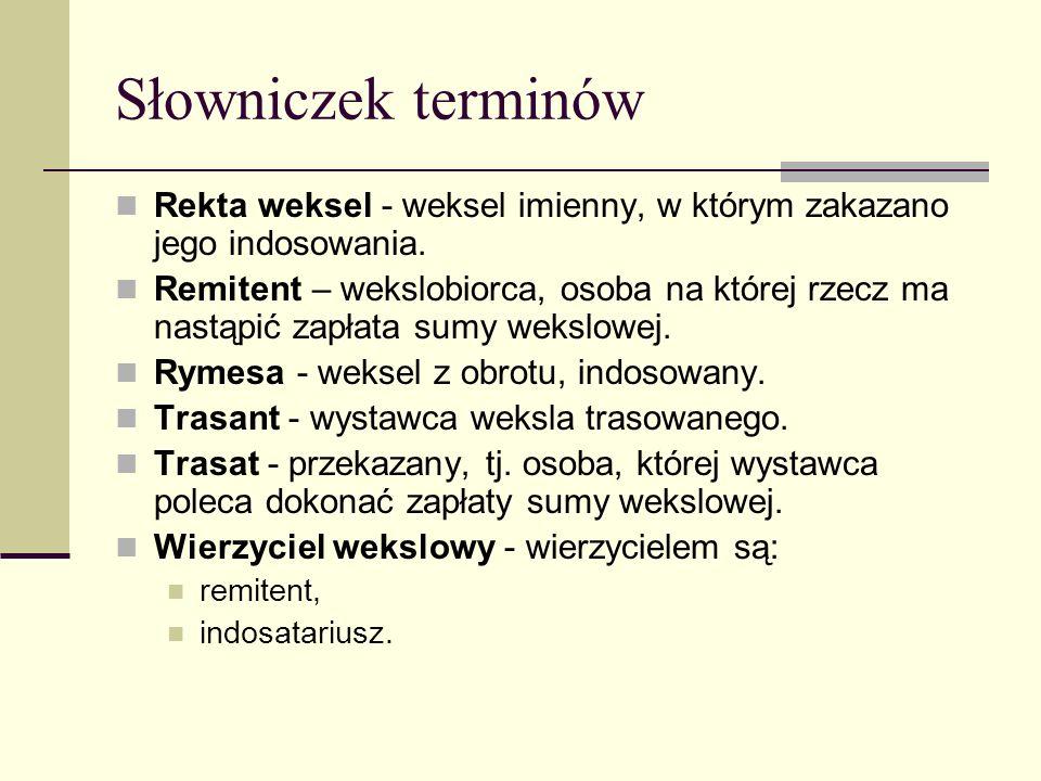 Słowniczek terminów Rekta weksel - weksel imienny, w którym zakazano jego indosowania.