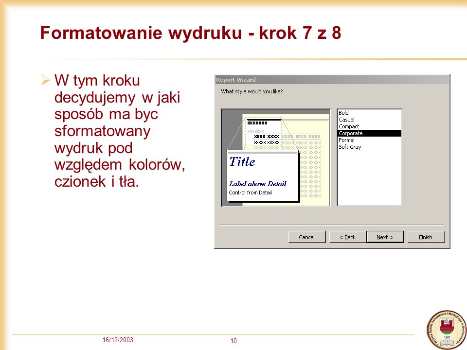 Formatowanie wydruku - krok 7 z 8