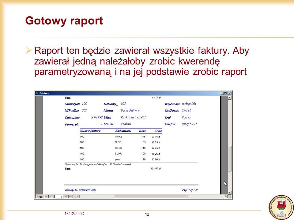 Gotowy raport