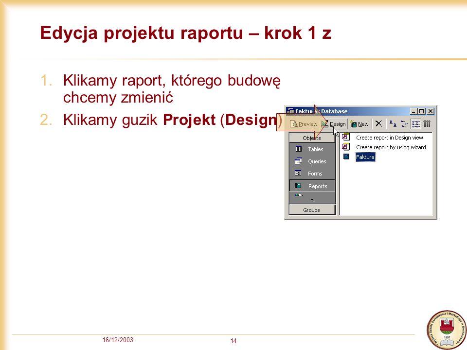 Edycja projektu raportu – krok 1 z