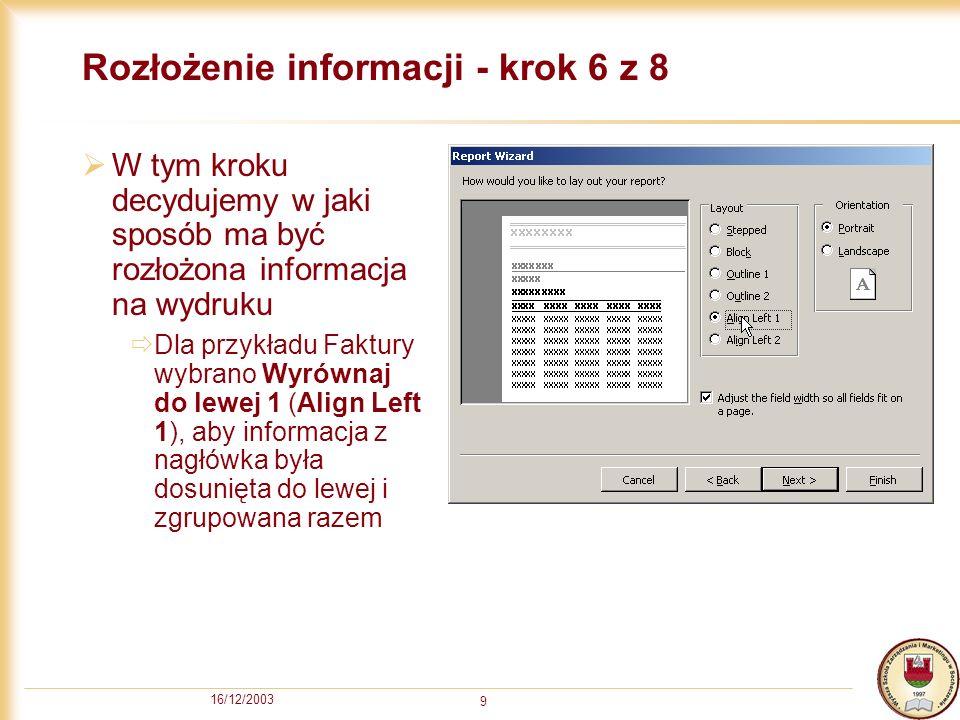 Rozłożenie informacji - krok 6 z 8