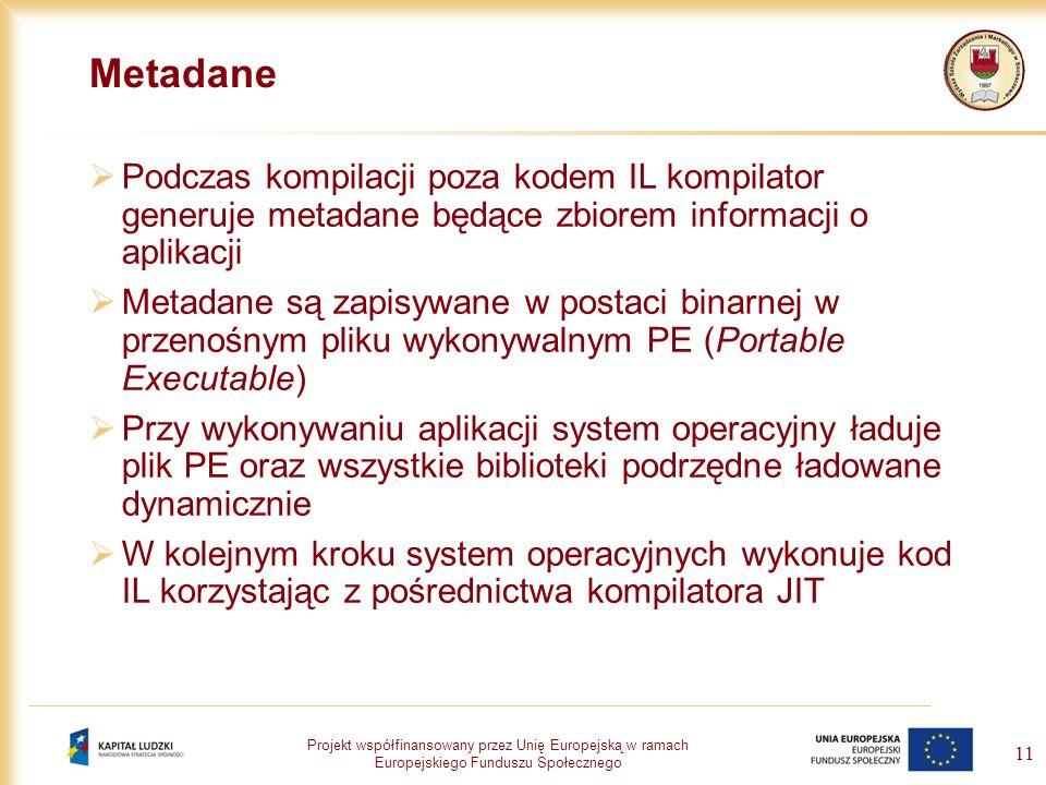 Metadane Podczas kompilacji poza kodem IL kompilator generuje metadane będące zbiorem informacji o aplikacji.