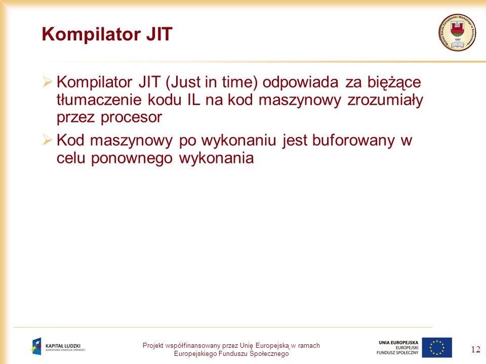 Kompilator JIT Kompilator JIT (Just in time) odpowiada za biężące tłumaczenie kodu IL na kod maszynowy zrozumiały przez procesor.