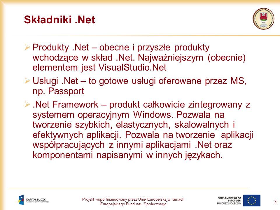 Składniki .Net Produkty .Net – obecne i przyszłe produkty wchodzące w skład .Net. Najważniejszym (obecnie) elementem jest VisualStudio.Net.