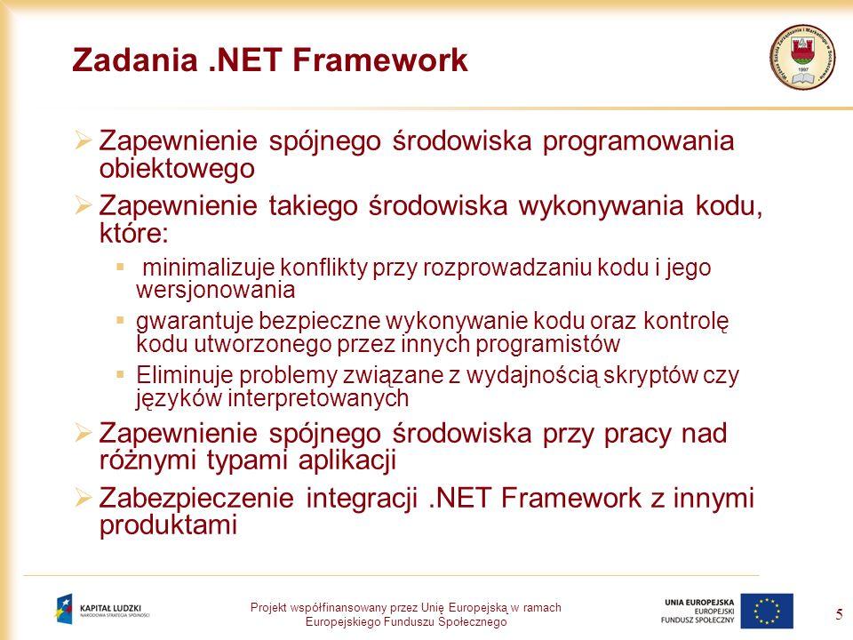 Zadania .NET Framework Zapewnienie spójnego środowiska programowania obiektowego. Zapewnienie takiego środowiska wykonywania kodu, które: