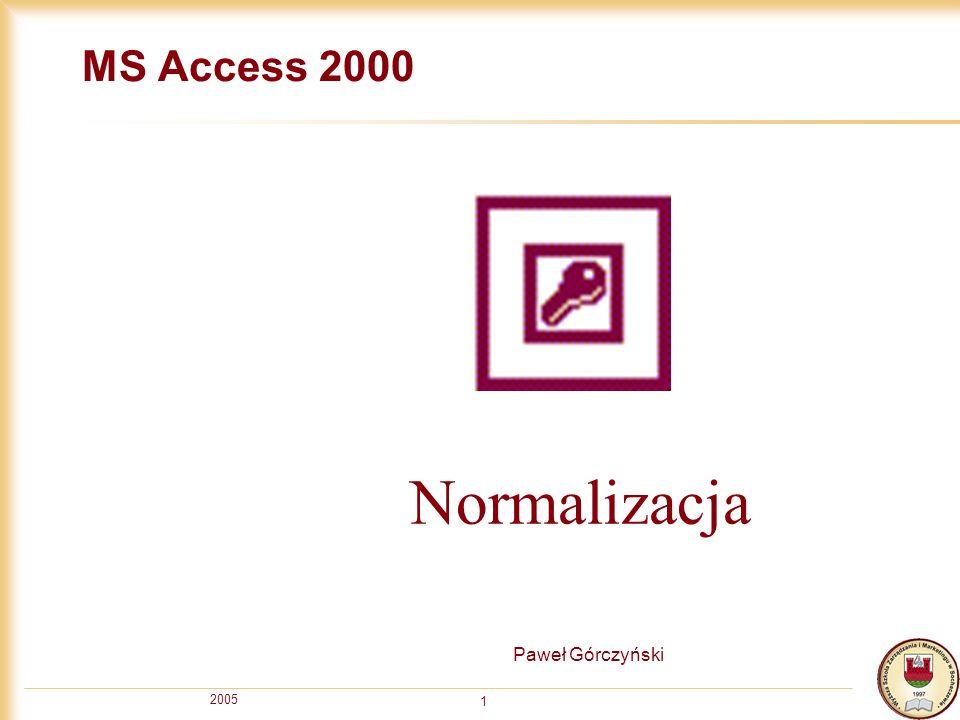 MS Access 2000 Normalizacja Paweł Górczyński 2005