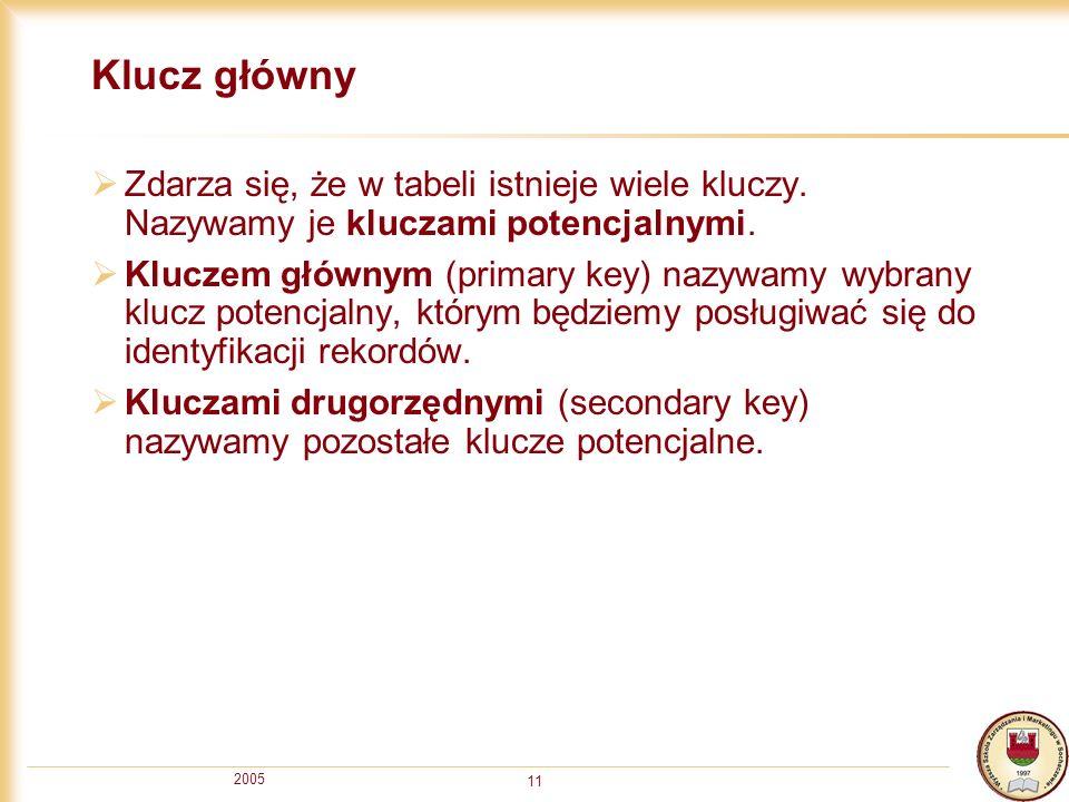 Klucz główny Zdarza się, że w tabeli istnieje wiele kluczy. Nazywamy je kluczami potencjalnymi.