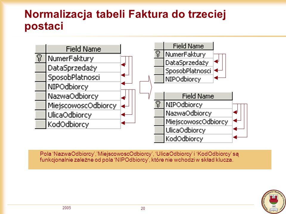 Normalizacja tabeli Faktura do trzeciej postaci