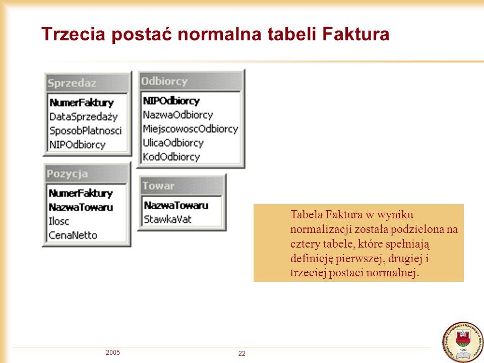 Trzecia postać normalna tabeli Faktura