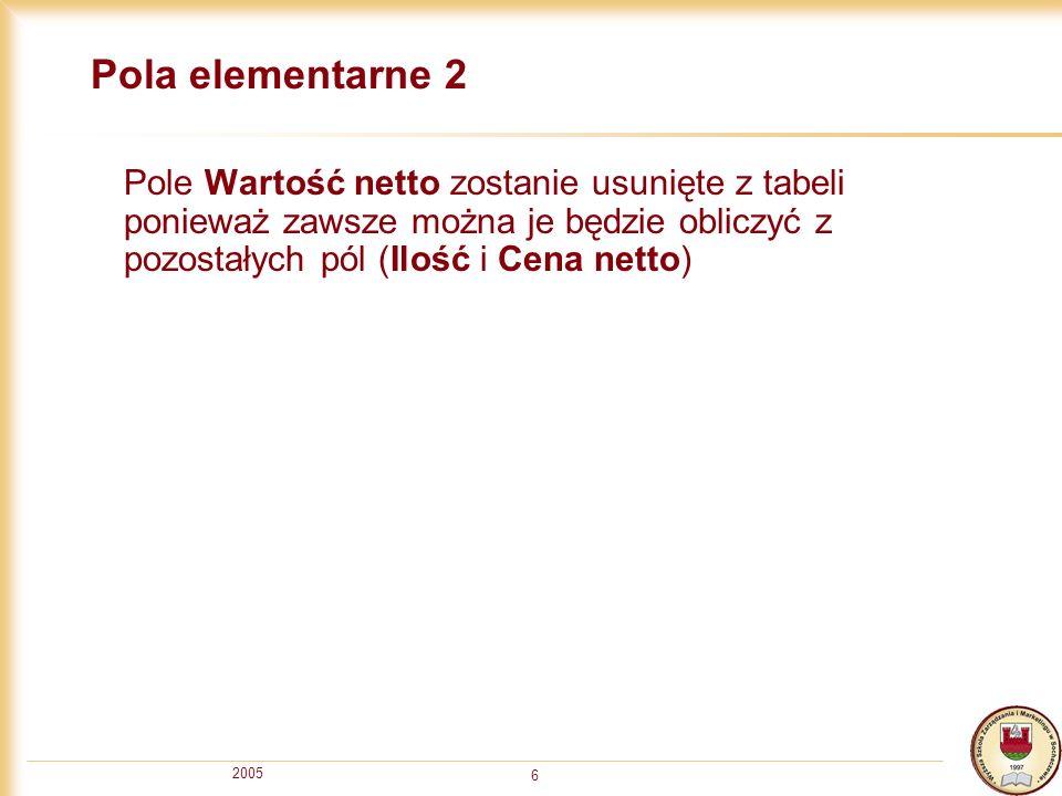 Pola elementarne 2 Pole Wartość netto zostanie usunięte z tabeli ponieważ zawsze można je będzie obliczyć z pozostałych pól (Ilość i Cena netto)