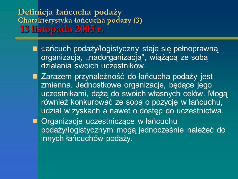 Definicja łańcucha podaży Charakterystyka łańcucha podaży (3) 13 listopada 2005 r.