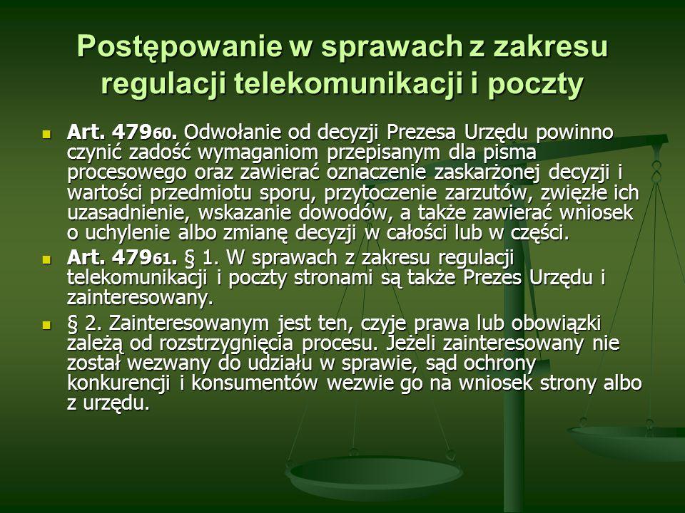 Postępowanie w sprawach z zakresu regulacji telekomunikacji i poczty