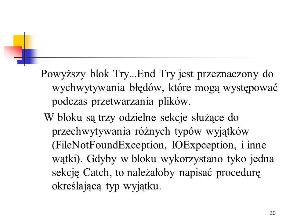 Powyższy blok Try...End Try jest przeznaczony do wychwytywania błędów, które mogą występować podczas przetwarzania plików.