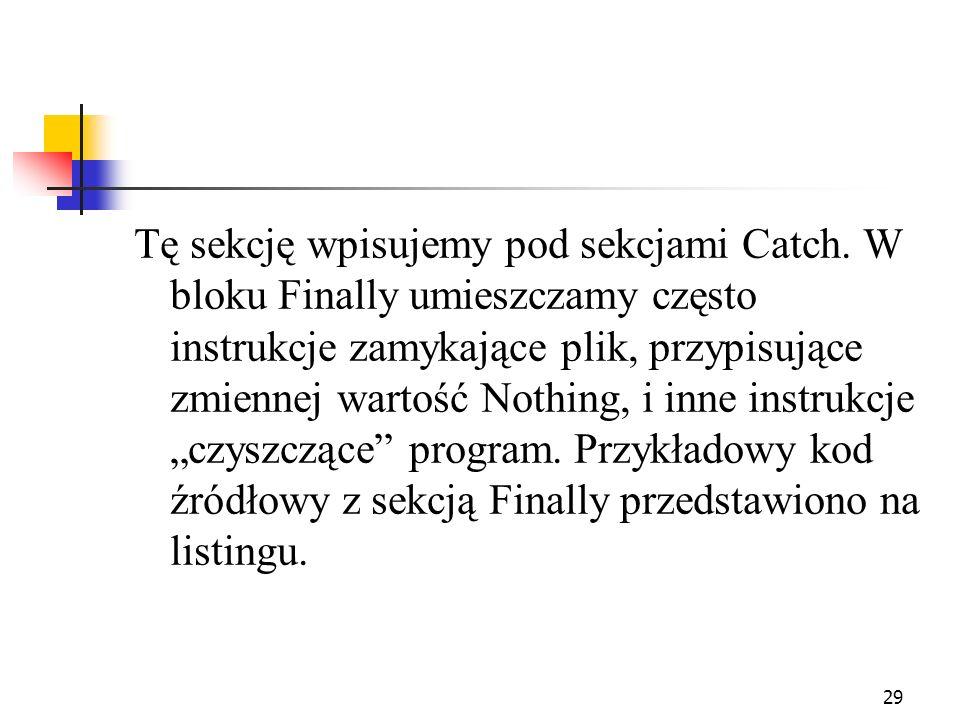 Tę sekcję wpisujemy pod sekcjami Catch