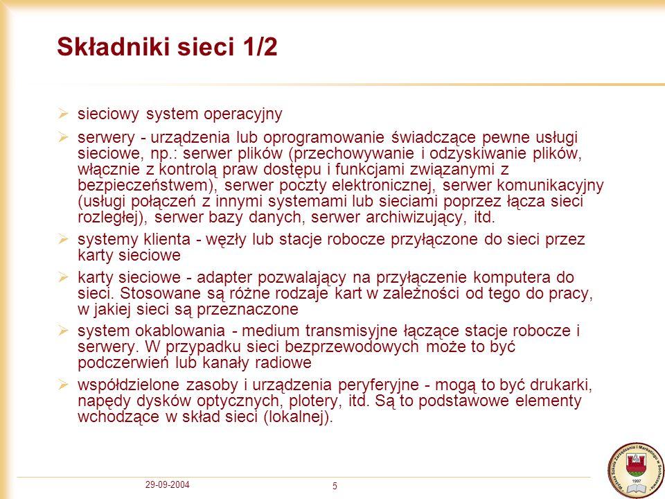 Składniki sieci 1/2 sieciowy system operacyjny